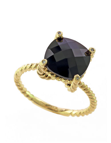 EFFY 14Kt Yellow Gold and Onyx Ring with Diamond Accents