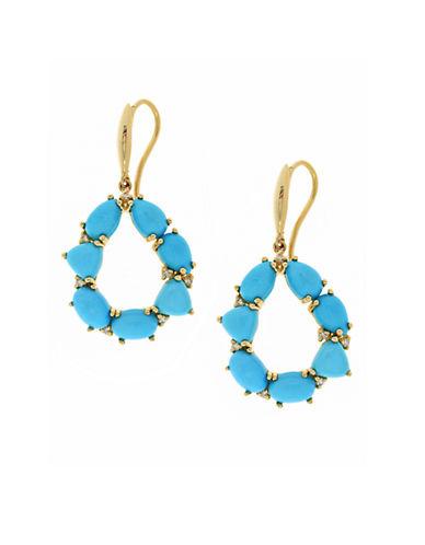 EFFYTurquesa 14K Yellow Gold Turquoise and Diamond Drop Earrings