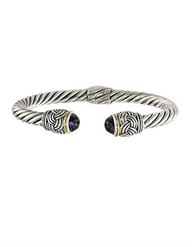 EFFY Balissima 18Kt. Yellow Gold and Sterling Silver Bangle Bracelet with Amethyst End Caps