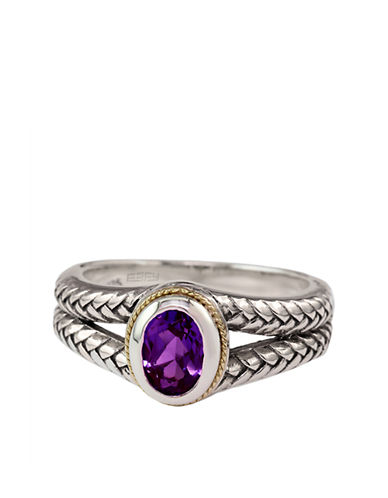 EFFY Balissima Sterling Silver and 18Kt Yellow Gold Ring with Amethyst Stone