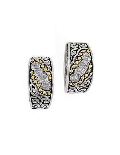 EFFY Balissima 18Kt. Yellow Gold and Sterling Silver Diamond Hoop Earrings