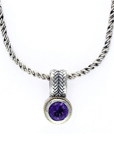 EFFY Sterling Silver, 18Kt. Yellow Gold Amethyst Pendant Necklace