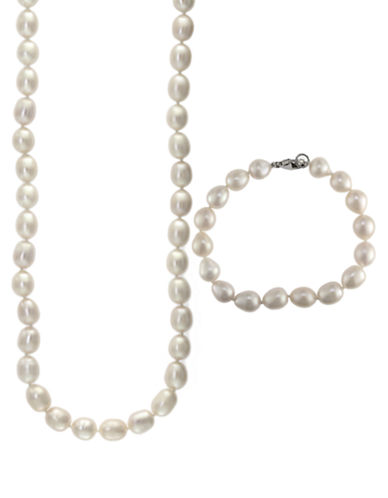 EFFY Sterling Silver and Pearl Necklace and Bracelet Set