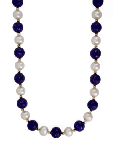 EFFY 14Kt. Yellow Gold Pearl and Lapis Necklace