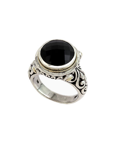 EFFYBalissima 18 Kt. Yellow Gold and Sterling Silver Onyx Ring