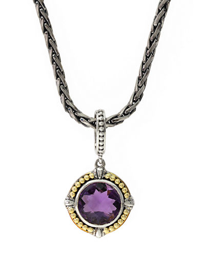 EFFY Sterling Silver 18Kt Yellow Gold and Amethyst Pendant Necklace