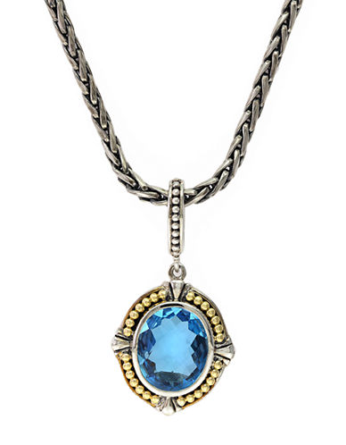 EFFYSterling Silver 18Kt Yellow Gold Blue Topaz Pendant Necklace