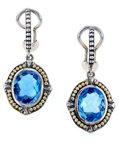 EFFY Sterling Silver 18Kt Yellow Gold and Blue Topaz Drop Earrings