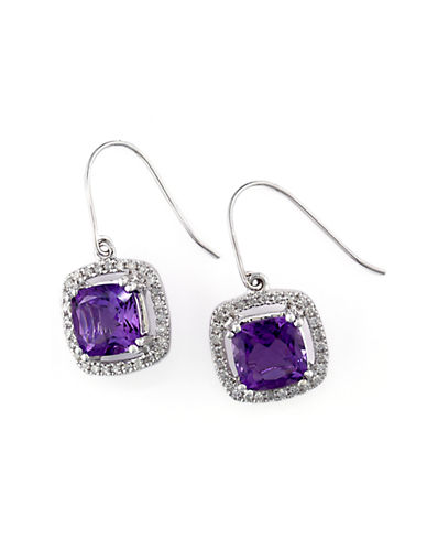 EFFY14Kt. White Gold Amethyst and Diamond Earrings