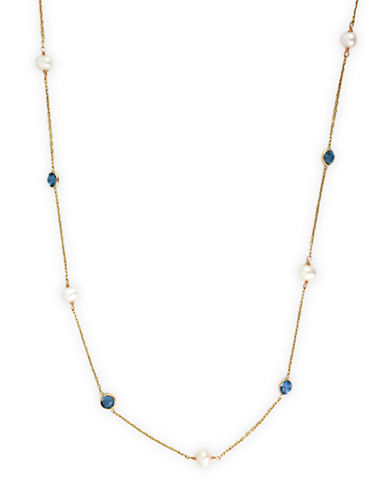 EFFY 14 Kt. Yellow Gold Pearl and Blue Topaz Station Necklace