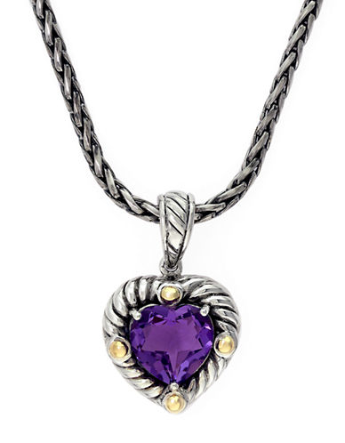 EFFY Balissima 18 Kt. Yellow Gold and Sterling Silver Amethyst Heart Pendant