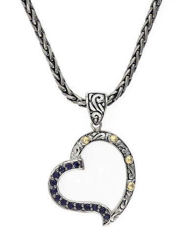EFFY Balissima 18 Kt. Yellow Gold and Sterling Silver Sapphire Heart Pendant