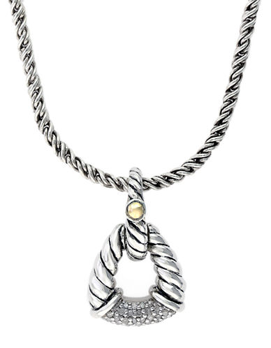 EFFYSterling Silver 18Kt Yellow Gold and Diamond Pendant Necklace