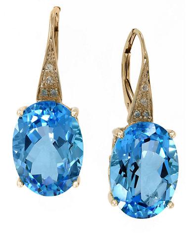 EFFY14K Yellow Gold Blue Topaz and Diamond Earrings