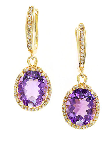 EFFY14K Yellow Gold Amethyst and Diamond Drop Earrings