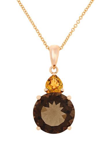 EFFY14K Rose Gold Smoky Quartz and Citrine Pendant with Diamond Accents