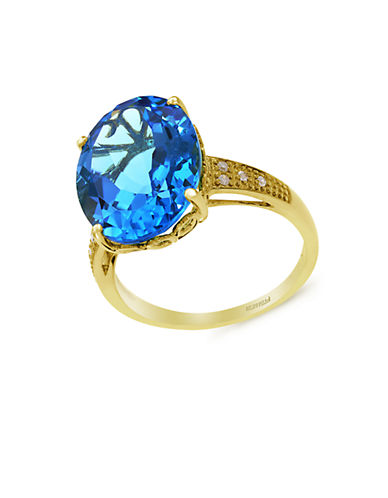 EFFY14K Yellow Gold Blue Topaz and Diamond Ring