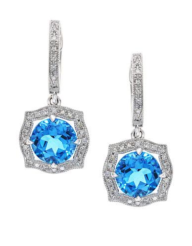 EFFY14K White Gold Blue Topaz and Diamond Drop Earrings