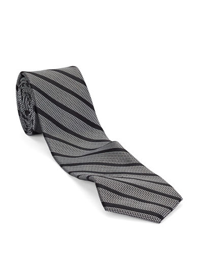 BLACK BROWN 1826 Slim Fit Striped Silk Tie Slim