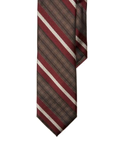 BLACK BROWN 1826Slim Fit Plaid Striped Silk Tie