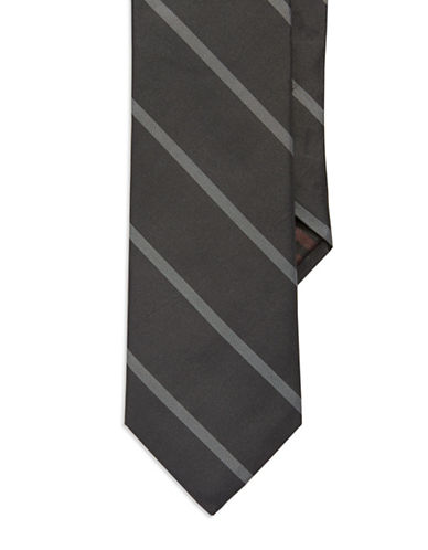 BLACK BROWN 1826 Striped Silk Tie