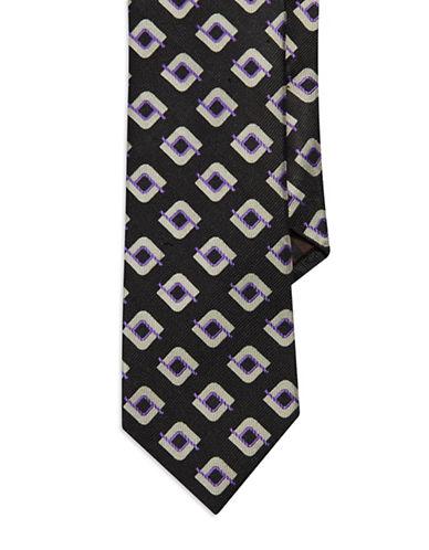 BLACK BROWN 1826Geometric Silk Tie
