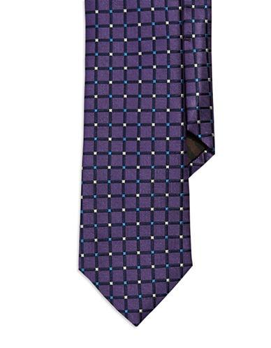 BLACK BROWN 1826Grid Patterned Silk Tie