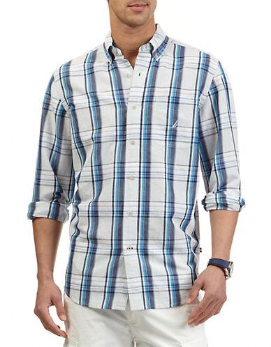 NAUTICAClassic Fit Ramie-Blend Plaid Sport Shirt