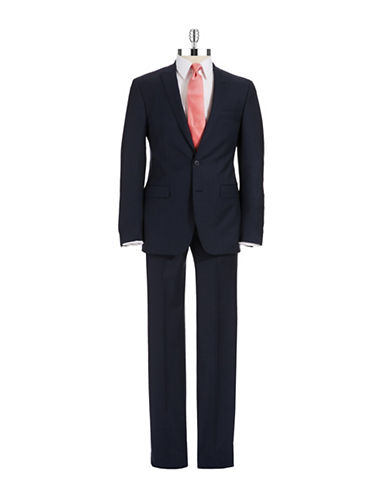 CALVIN KLEIN Two-Piece Blue Solid Wool Suit