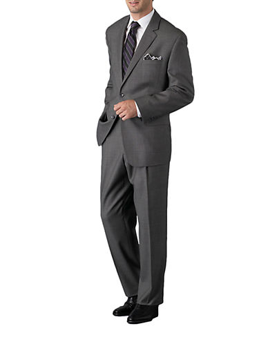 BLACK BROWN 1826 Modern Fit 2-Button Gray Wool Suit