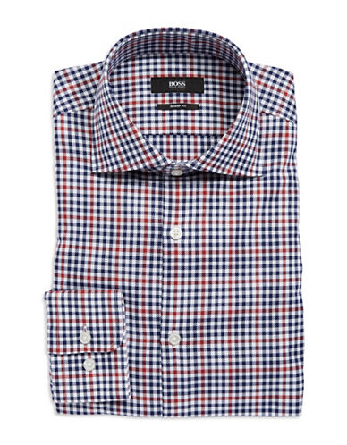 HUGO BOSS Checkered Button-Down Dress Shirt