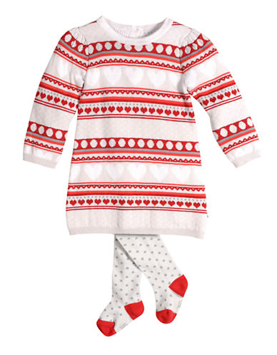 PETIT LEMBaby Girls X Missy Red Heart Sweater Dress with Tights