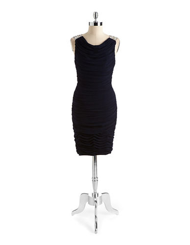 JS BOUTIQUEEmbellished Draped Cocktail Dress