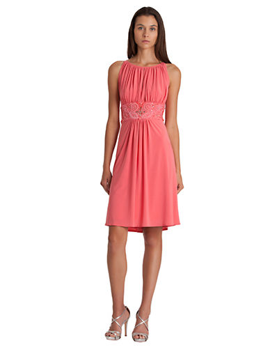 JS BOUTIQUE Ruched Jersey Fit and Flare Dress