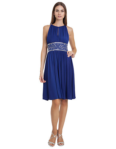 JS BOUTIQUEBeaded Ruched Jersey Dress