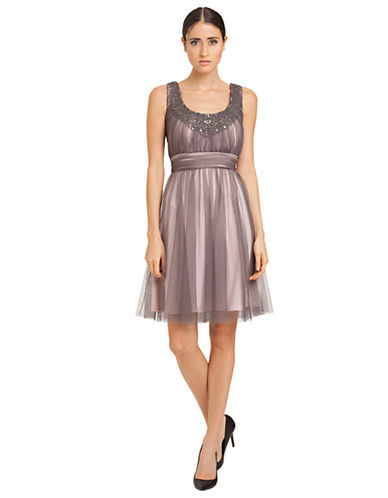JS BOUTIQUEBeaded Shirred Mesh Dress