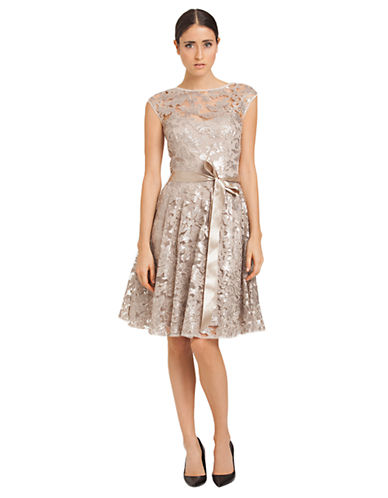 JS BOUTIQUEBelted Lace Overlay Dress
