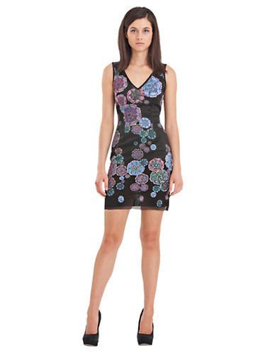 CYNTHIA ROWLEYBeaded Floral Sheath Dress