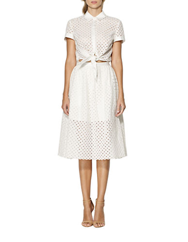 2-Piece Eyelet Blouse and Skirt Set plus size,  plus size fashion plus size appare