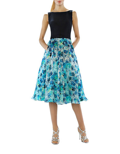 Shop Theia online and buy Theia Solid Bodice Floral-Print A-Line Dress dress online