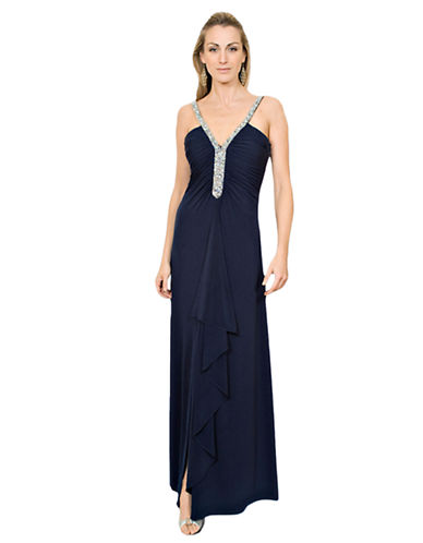 JS BOUTIQUE Bead Embellished Matte Jersey Gown