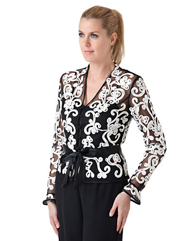 JS COLLECTIONS Black White Soutache Jacket and Cami