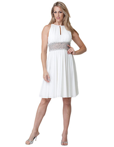 JS BOUTIQUESleeveless Dress with Beaded and Crystal Accents