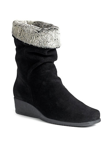 LA CANADIENNE Fancy Faux-Fur Cuff Suede Wedge Boots