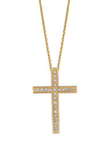 LORD & TAYLOR 14Kt Yellow Gold and Diamond Cross Pendant Necklace