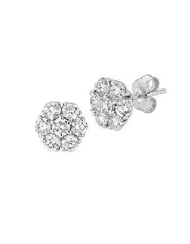 LORD & TAYLOR 14Kt White Gold and 1.52 ct t w Diamond Flower Earrings