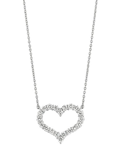 LORD & TAYLOR 14Kt White Gold and Diamond Heart Necklace