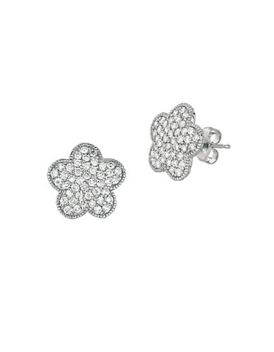 LORD & TAYLOR 14Kt White Gold and 0.79 ct t w Diamond Flower Earrings