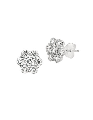 LORD & TAYLOR 14Kt White Gold and 0.52 ct t w Diamond Flower Earrings