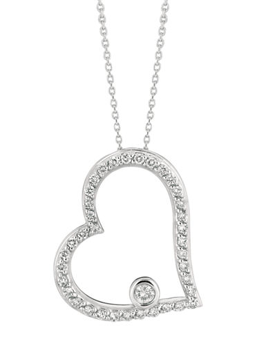 LORD & TAYLOR14Kt White Gold and Diamond Floating Heart Pendant Necklace